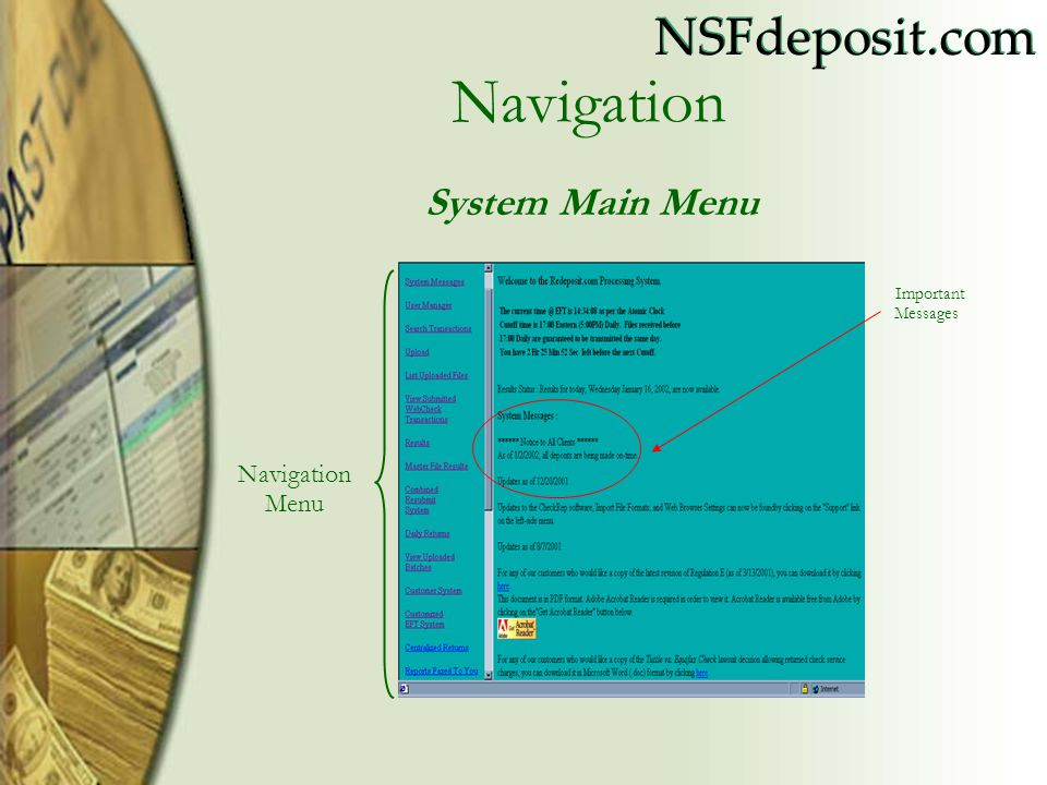 Navigation System Main Menu Important Messages Navigation Menu