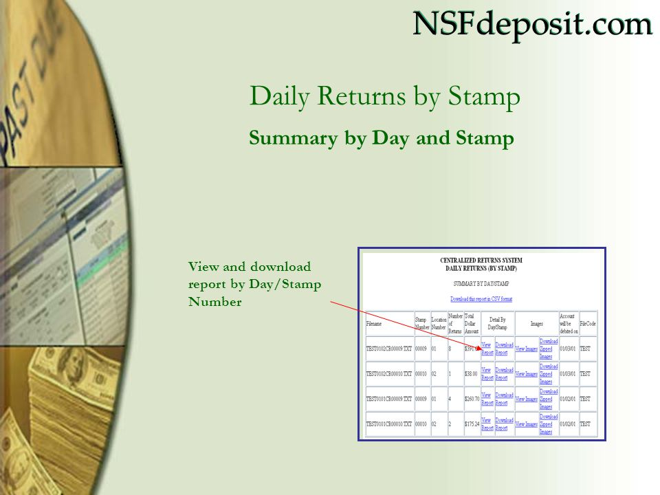 Daily Returns by Stamp Summary by Day and Stamp