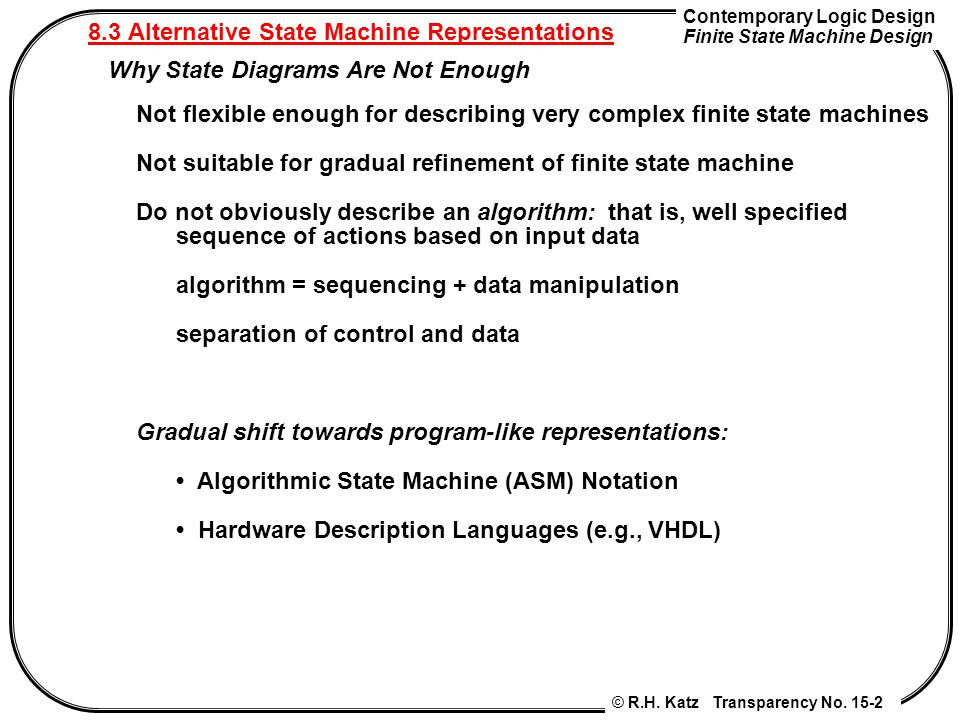 8.3 Alternative State Machine Representations
