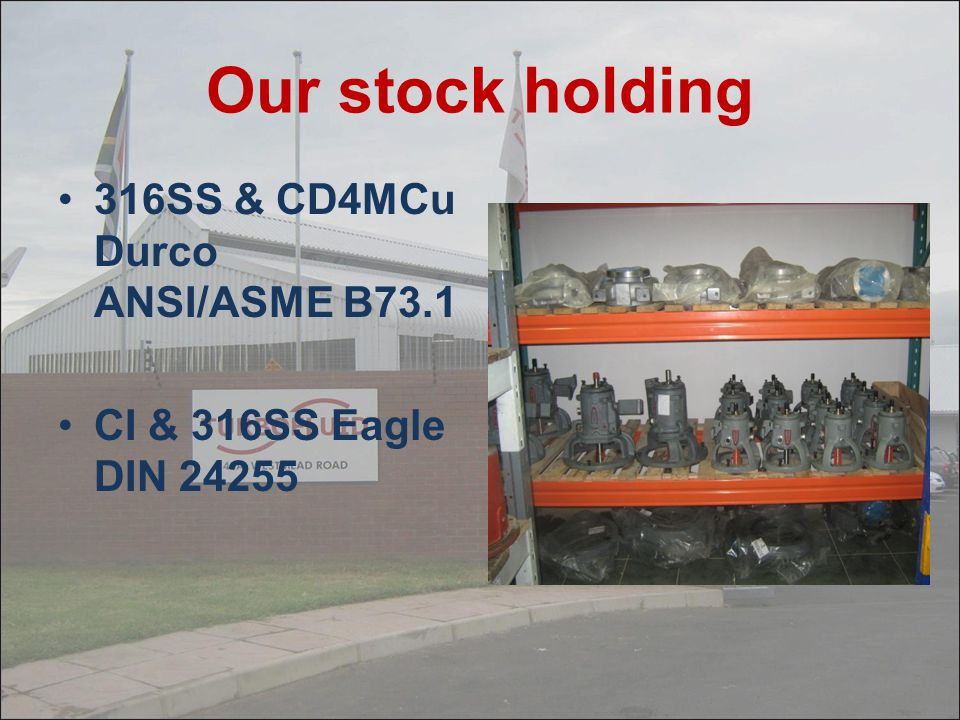 Our stock holding 316SS & CD4MCu Durco ANSI/ASME B73.1