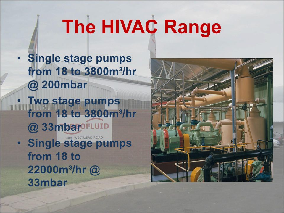 The HIVAC Range Single stage pumps from 18 to 3800m³/hr @ 200mbar