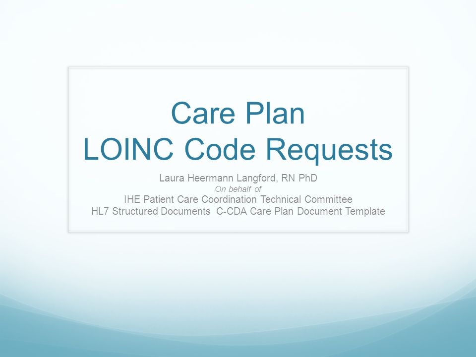 Care Plan LOINC Code Requests