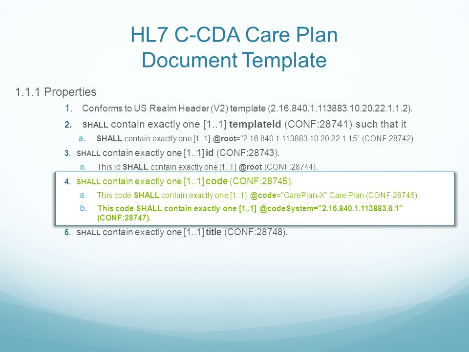 HL7 C-CDA Care Plan Document Template