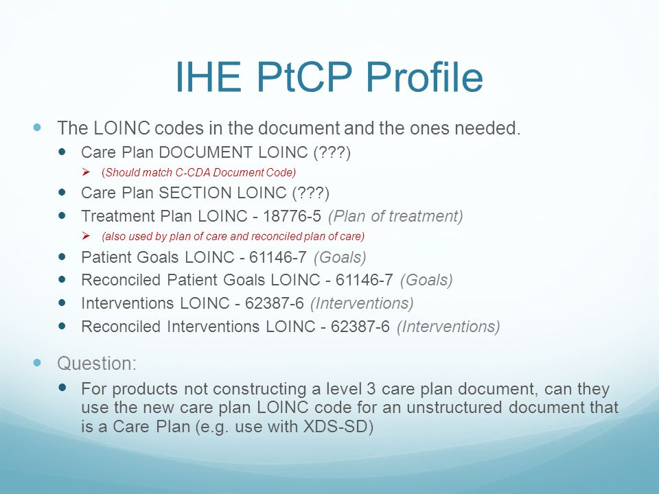 IHE PtCP Profile The LOINC codes in the document and the ones needed.