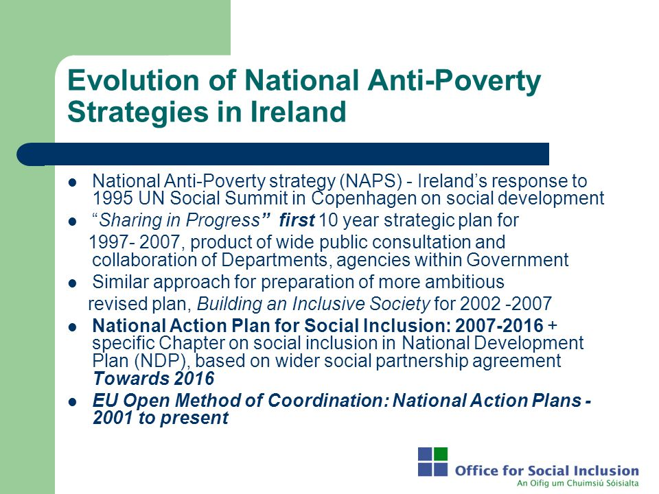 Evolution of National Anti-Poverty Strategies in Ireland