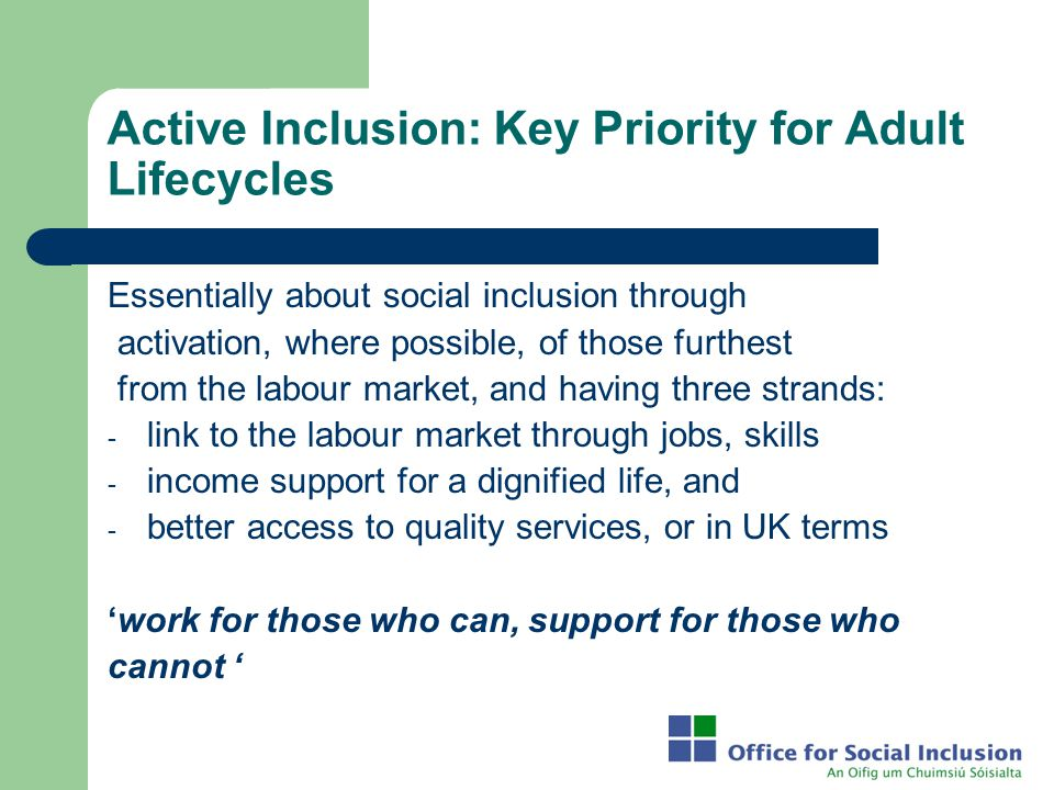 Active Inclusion: Key Priority for Adult Lifecycles