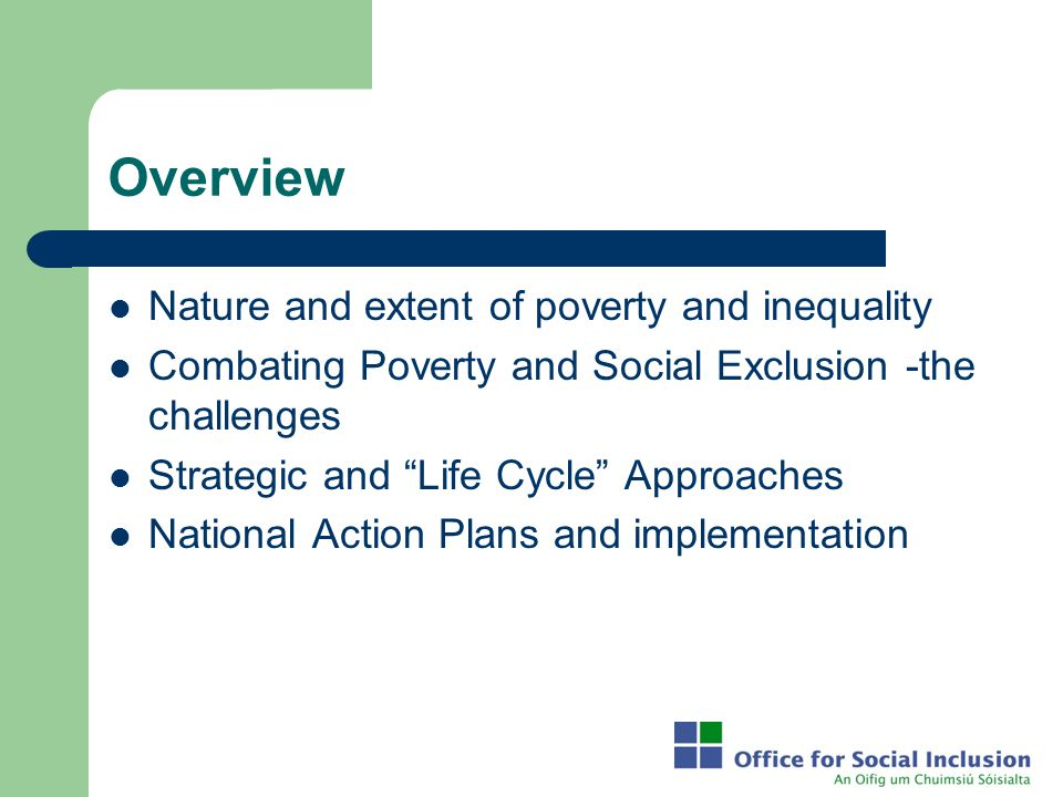 Overview Nature and extent of poverty and inequality
