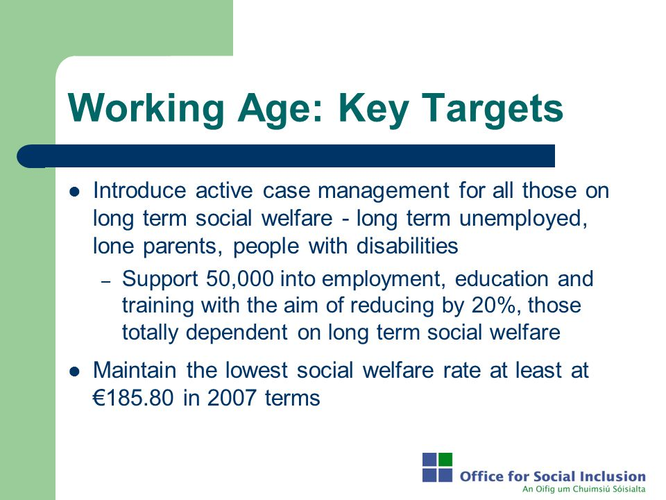 Working Age: Key Targets