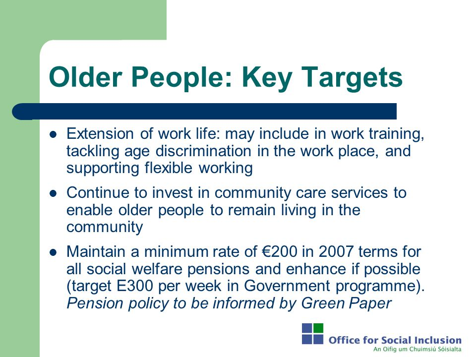 Older People: Key Targets