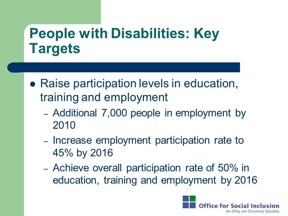 People with Disabilities: Key Targets