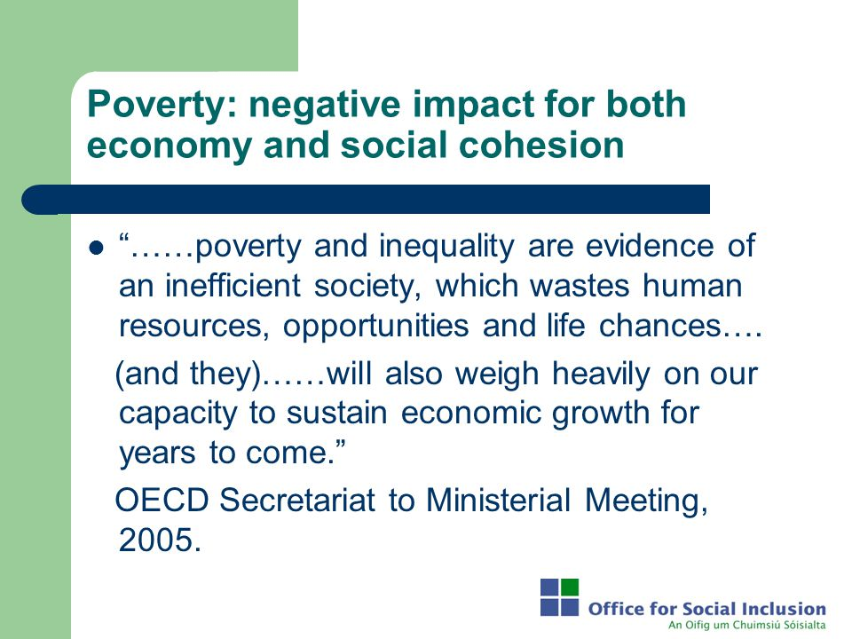 Poverty: negative impact for both economy and social cohesion