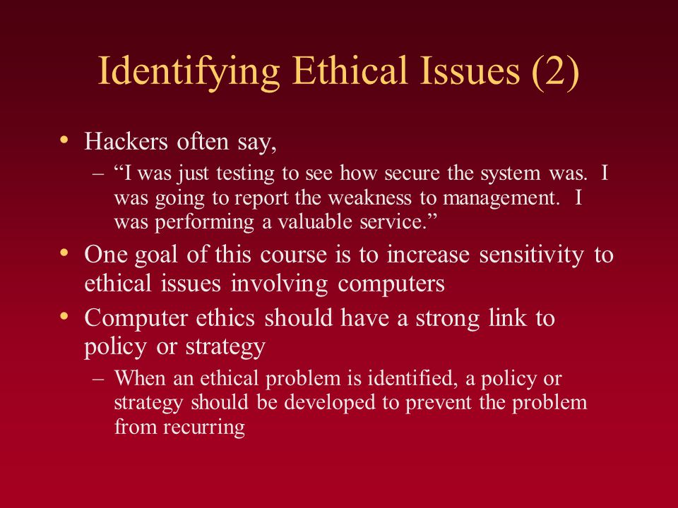 Identifying Ethical Issues (2)