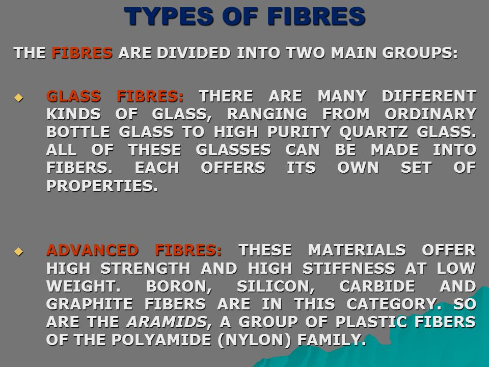 TYPES OF FIBRES THE FIBRES ARE DIVIDED INTO TWO MAIN GROUPS: