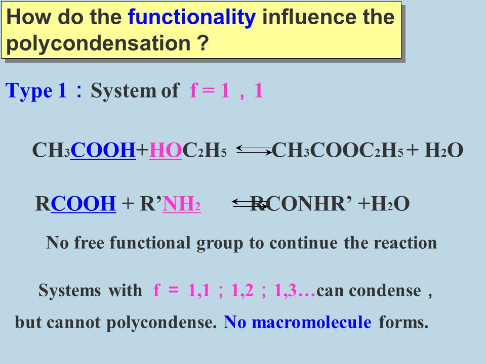 How do the functionality influence the polycondensation