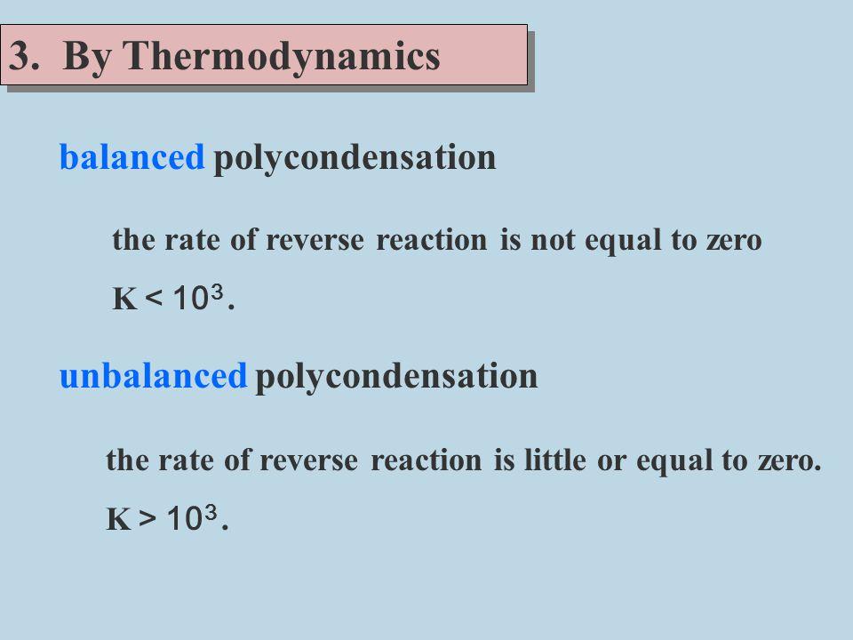 3. By Thermodynamics balanced polycondensation