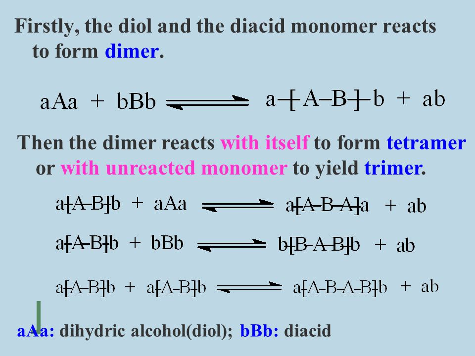 Firstly, the diol and the diacid monomer reacts to form dimer.