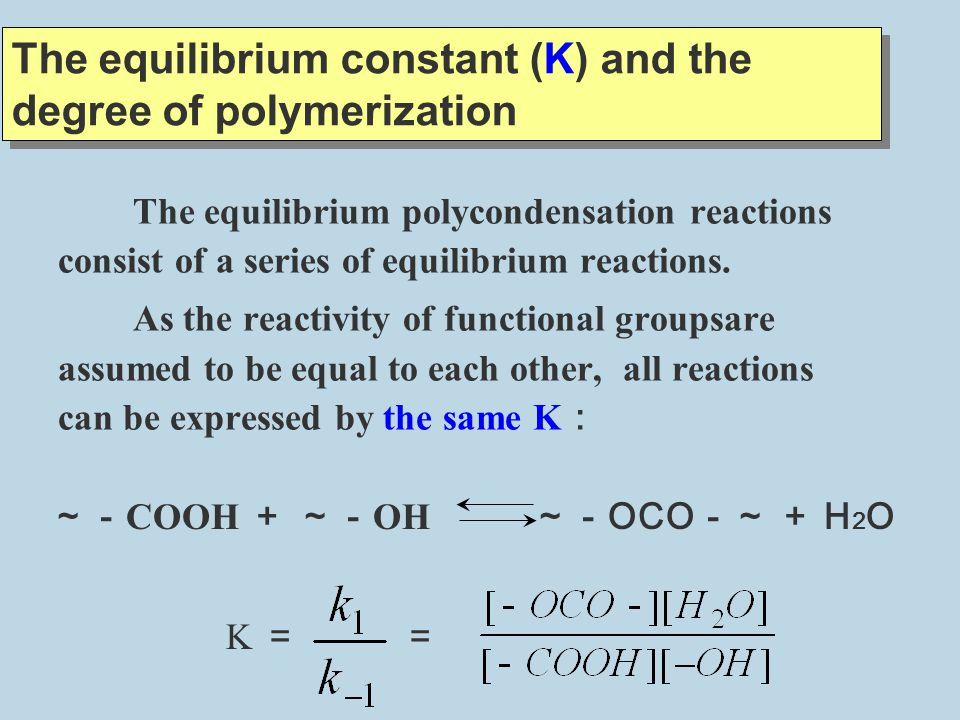 The equilibrium constant (K) and the degree of polymerization