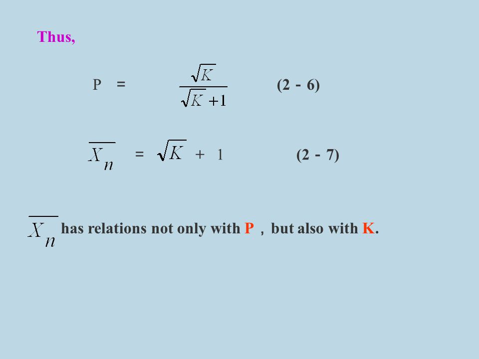 Thus, P = (2-6) = + 1 (2-7) has relations not only with P,but also with K.