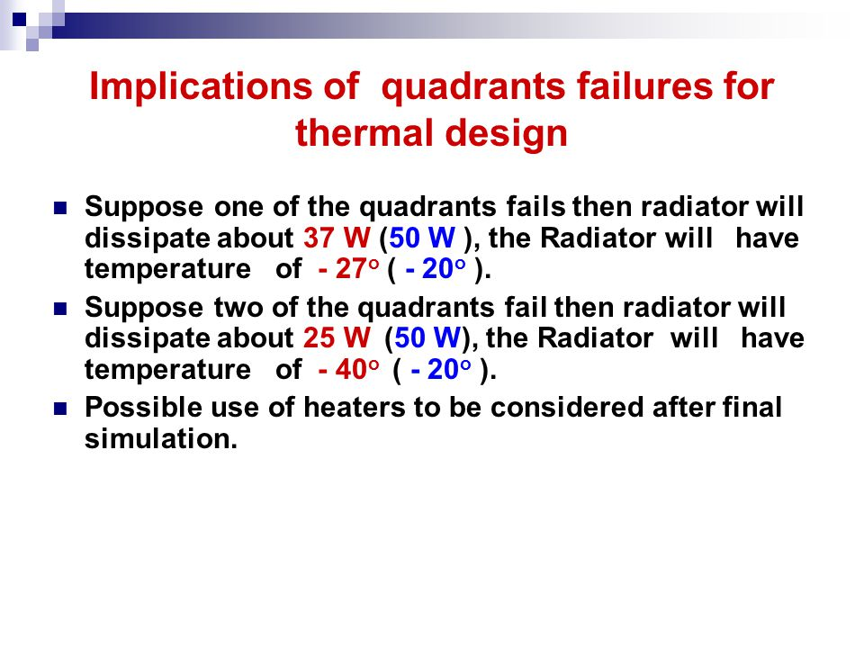 Implications of quadrants failures for thermal design