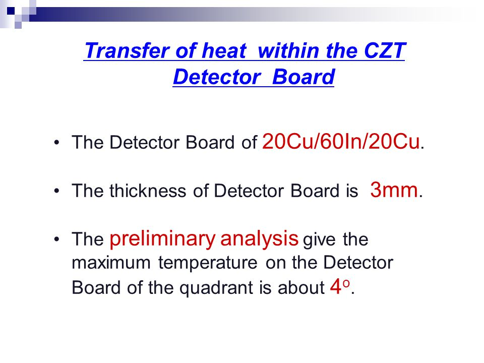 Transfer of heat within the CZT Detector Board