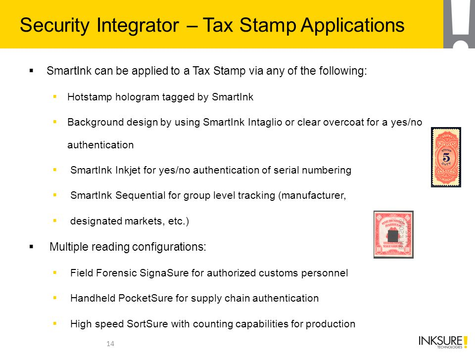 Security Integrator – Tax Stamp Applications