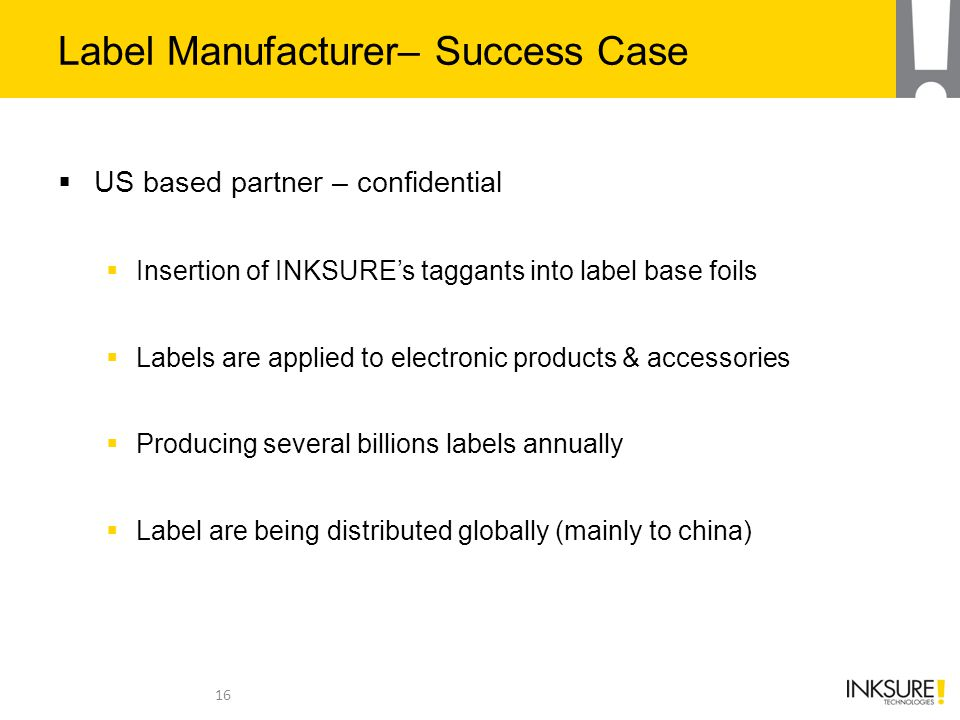 Label Manufacturer– Success Case