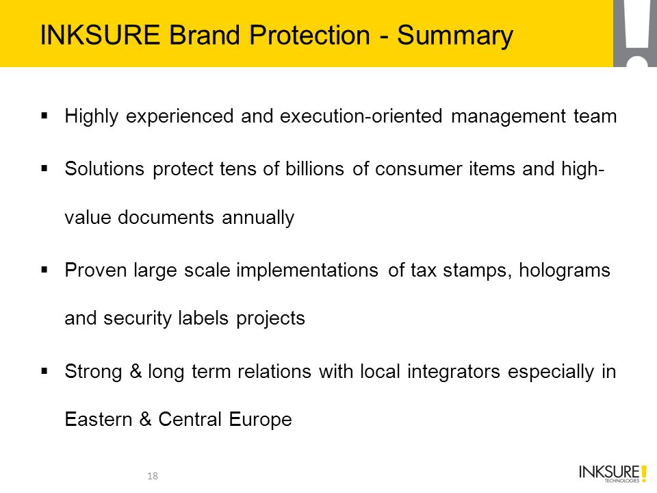INKSURE Brand Protection - Summary