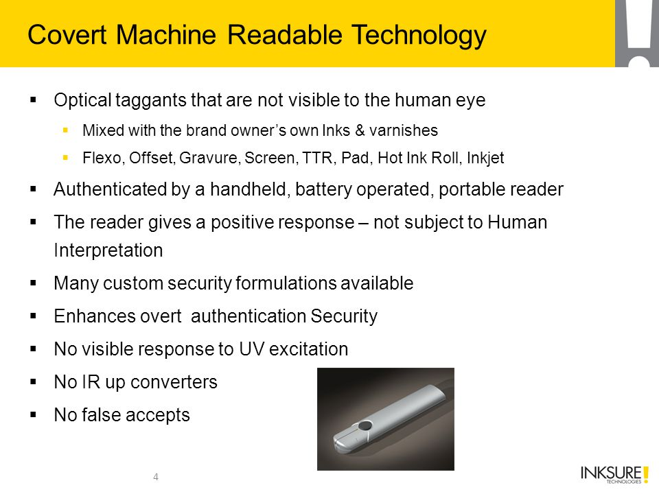 Covert Machine Readable Technology