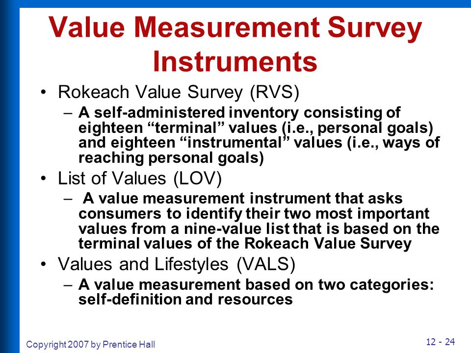 Value Measurement Survey Instruments