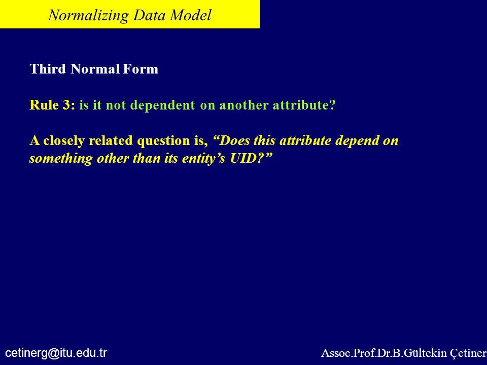 Normalizing Data Model