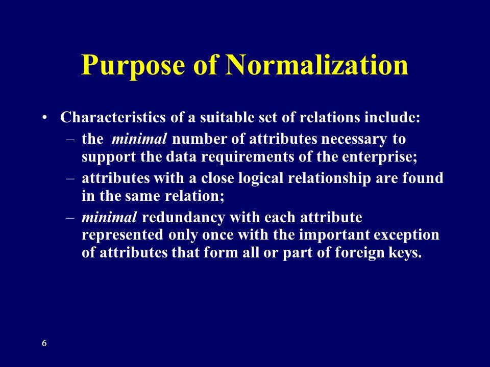 Purpose of Normalization