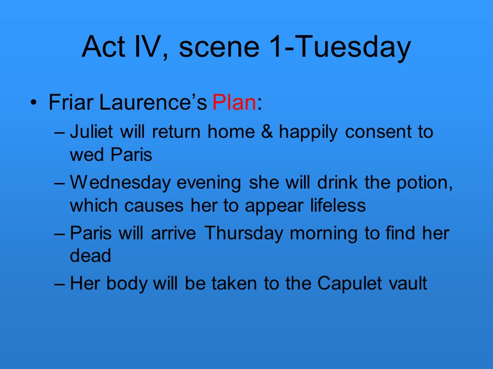 Act IV, scene 1-Tuesday Friar Laurence's Plan: