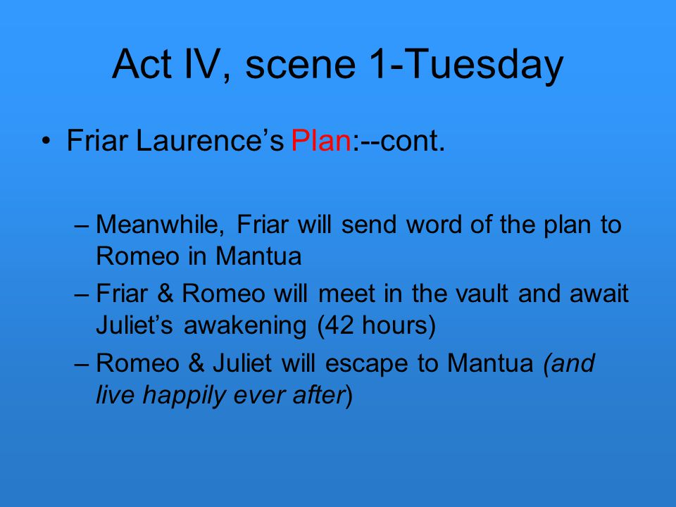 Act IV, scene 1-Tuesday Friar Laurence's Plan:--cont.