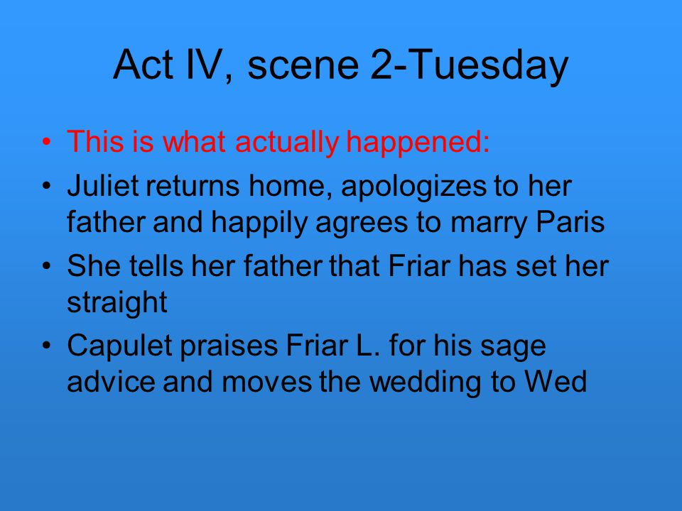 Act IV, scene 2-Tuesday This is what actually happened: