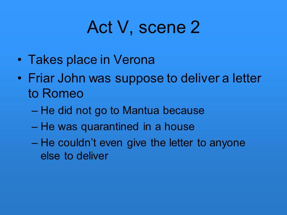 Act V, scene 2 Takes place in Verona