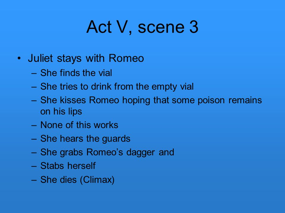 Act V, scene 3 Juliet stays with Romeo She finds the vial