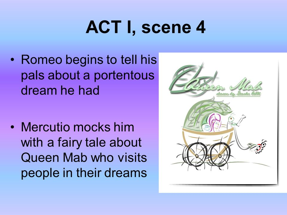 ACT I, scene 4 Romeo begins to tell his pals about a portentous dream he had.