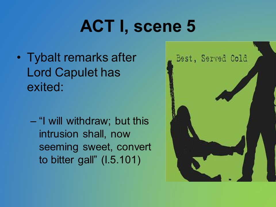 ACT I, scene 5 Tybalt remarks after Lord Capulet has exited: