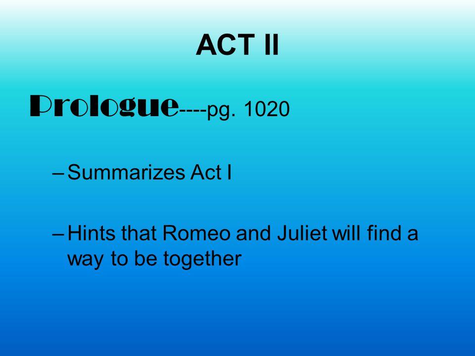 Prologue----pg. 1020 ACT II Summarizes Act I