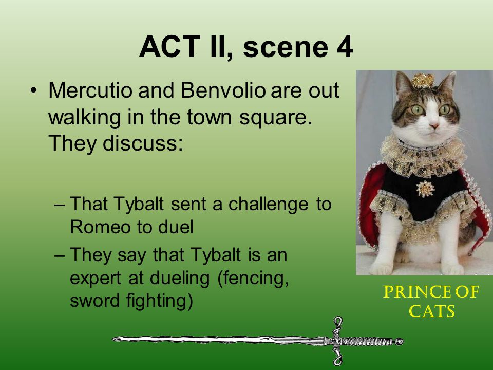 ACT II, scene 4 Mercutio and Benvolio are out walking in the town square. They discuss: That Tybalt sent a challenge to Romeo to duel.