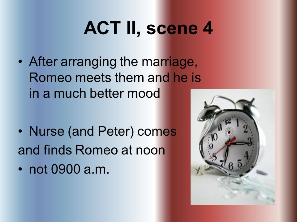 ACT II, scene 4 After arranging the marriage, Romeo meets them and he is in a much better mood. Nurse (and Peter) comes.