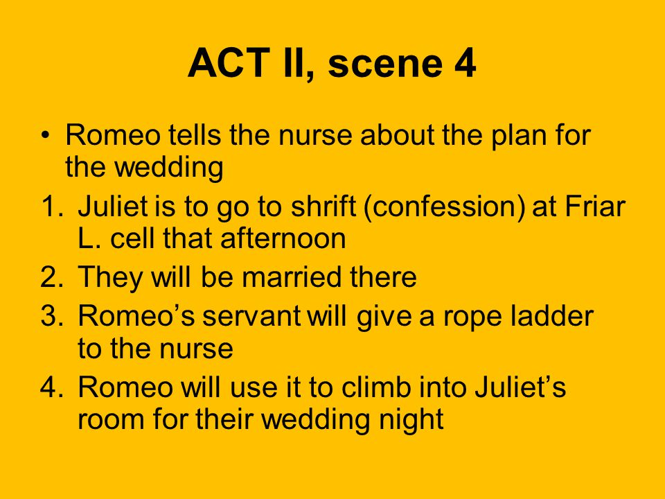 ACT II, scene 4 Romeo tells the nurse about the plan for the wedding