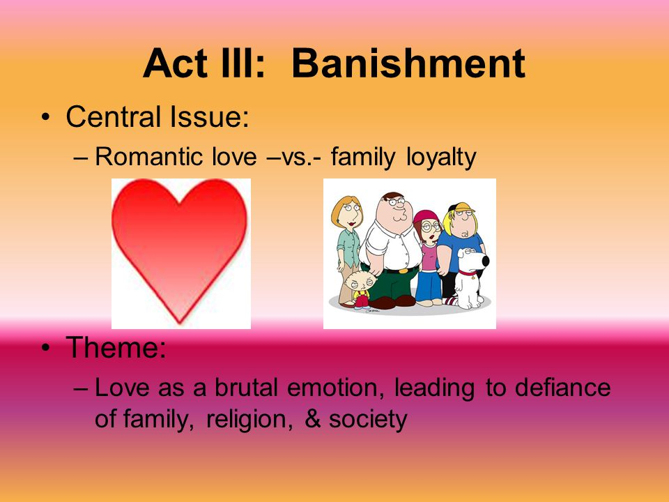 Act III: Banishment Central Issue: Theme: