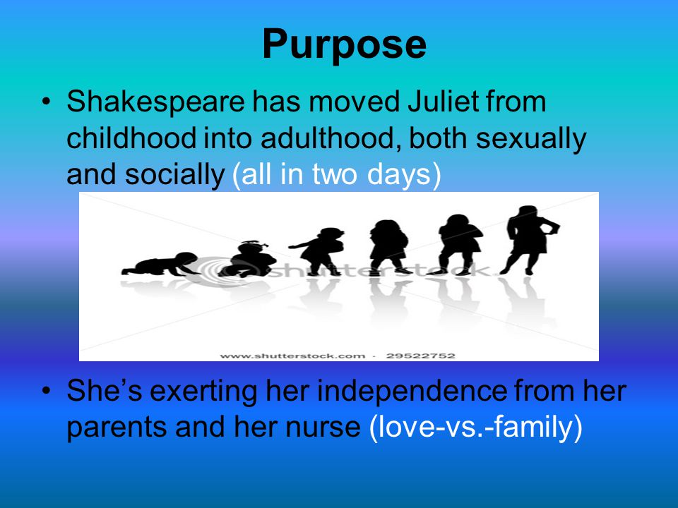 Purpose Shakespeare has moved Juliet from childhood into adulthood, both sexually and socially (all in two days)