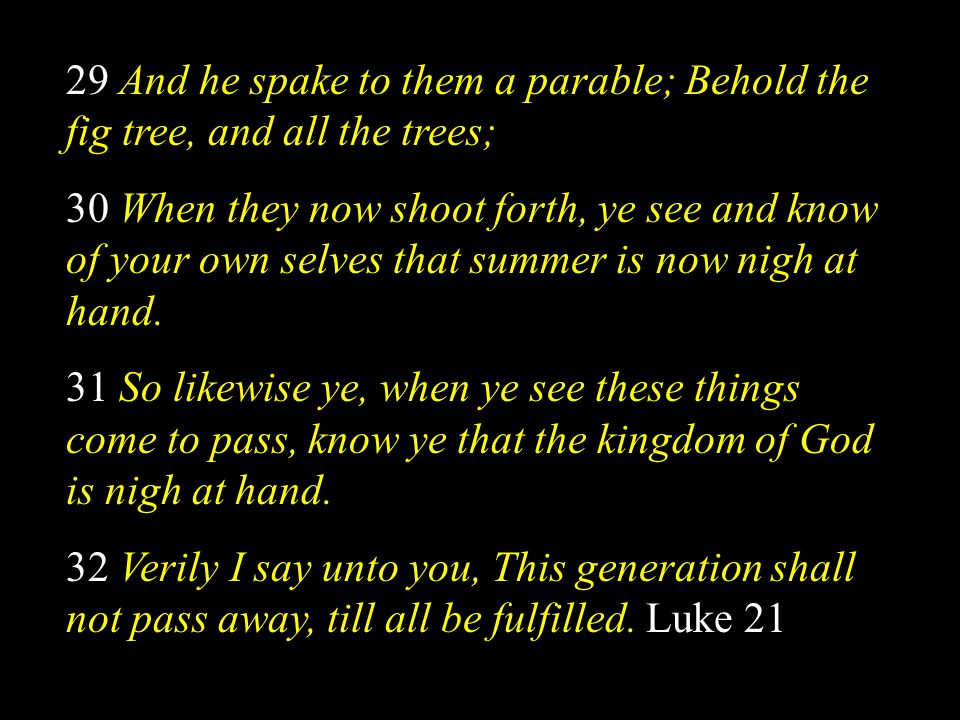 29 And he spake to them a parable; Behold the fig tree, and all the trees;