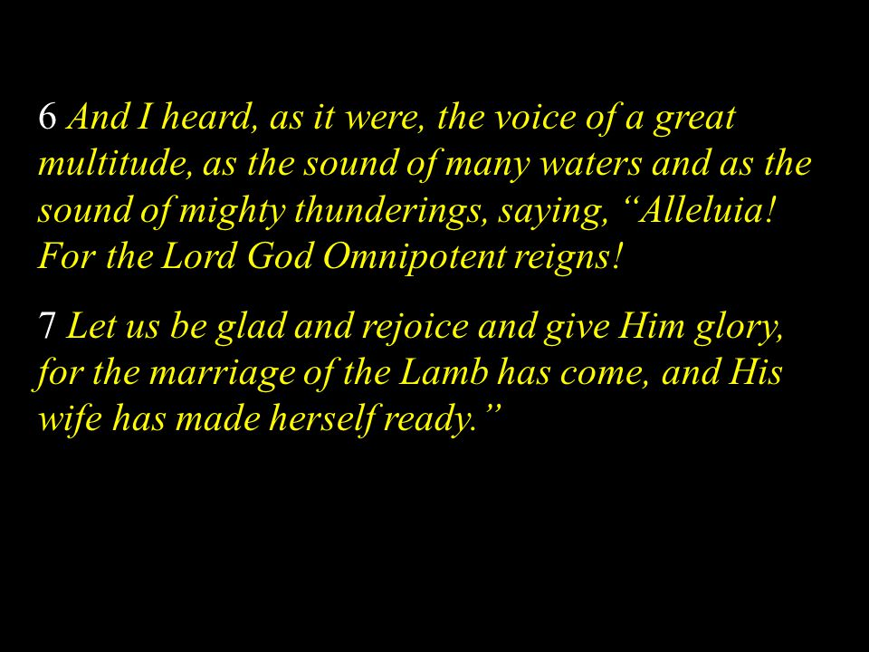 6 And I heard, as it were, the voice of a great multitude, as the sound of many waters and as the sound of mighty thunderings, saying, Alleluia! For the Lord God Omnipotent reigns!