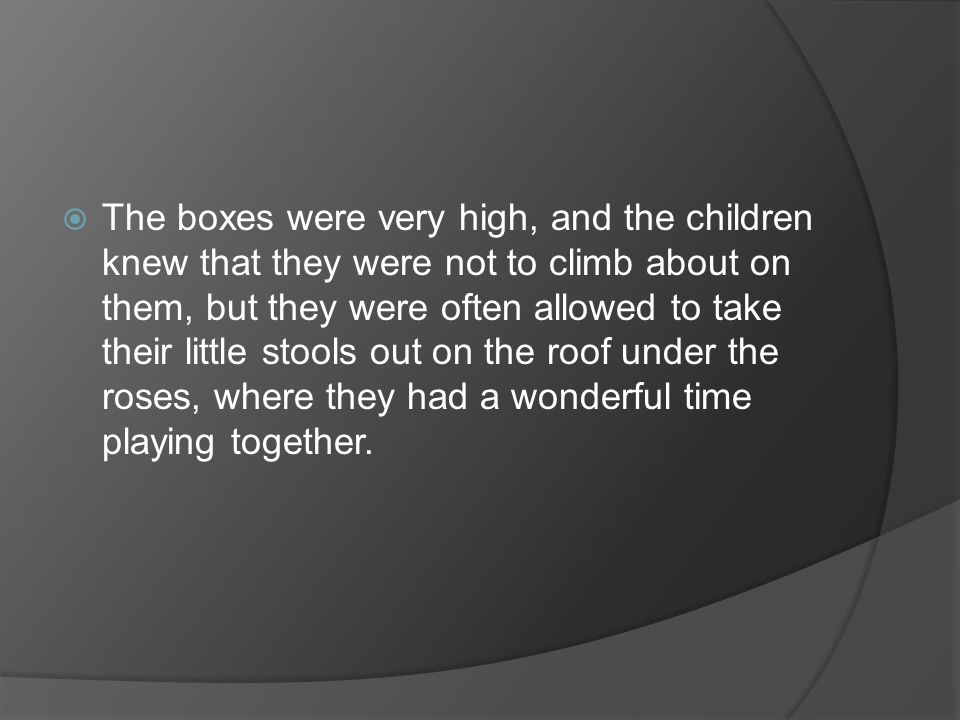 The boxes were very high, and the children knew that they were not to climb about on them, but they were often allowed to take their little stools out on the roof under the roses, where they had a wonderful time playing together.