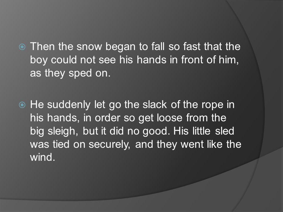 Then the snow began to fall so fast that the boy could not see his hands in front of him, as they sped on.