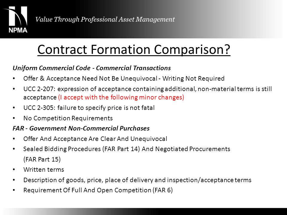 Contract Formation Comparison