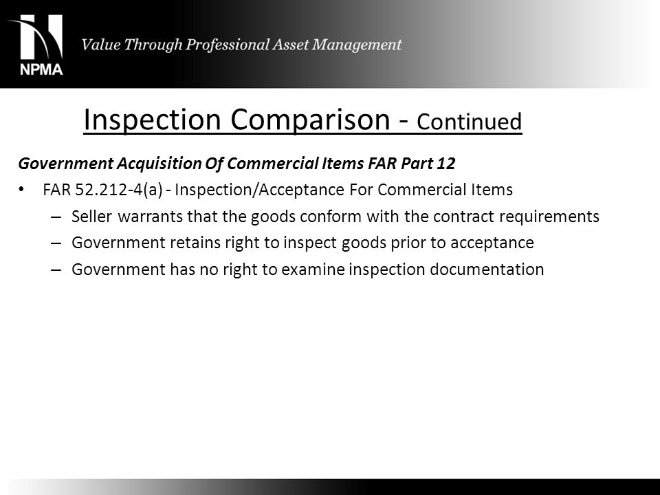 Inspection Comparison - Continued